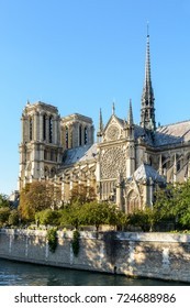 Three quarter view of the southern side of Notre-Dame de Paris cathedral by a sunny evening at the beginning of fall with the river Seine in the foreground.