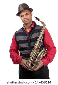 A three quarter view of a young saxophonist is shown.