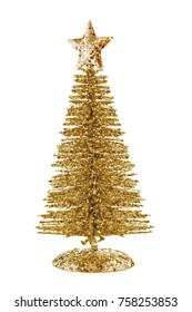 Three quater view of gold shiny Christmas tree with star isolated on white background