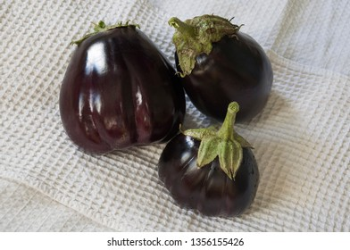 Three rape eggplants are laying on the white background. Autumn vegetables. Delicious and healthy food