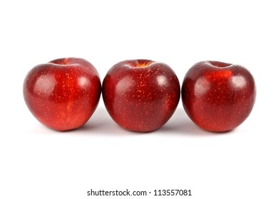 Three red apple isolated