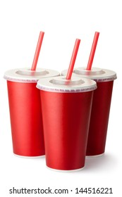 Three red cardboard cups with a straws. Isolated on a white.