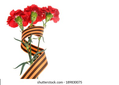 Three red cloves tied with Saint George ribbon on white