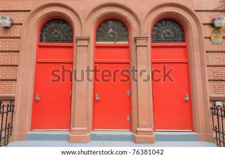 Three red doors at