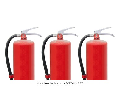 Three Red Fire Extinguisher Old Tank isolated on white background
