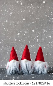 Three Red Gnomes, Cement, Snowflakes, Copy Space