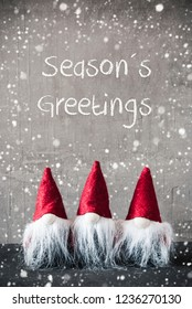 Three Red Gnomes, Cement, Snowflakes, Seasons Greetings