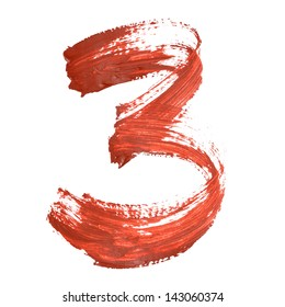 Three - Red numbers over white background
