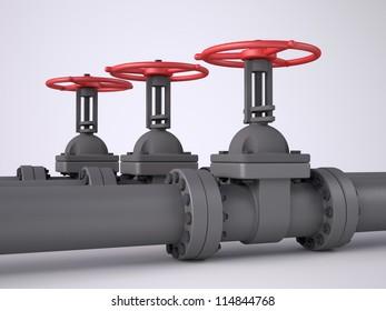Three red oil valves on white background