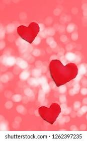 three red paper hearts - Valentine's Day
