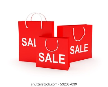 Three red paper shopping bags with text sale isolated on white background. 3D illustration