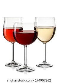 Three red, rose and white wine glasses