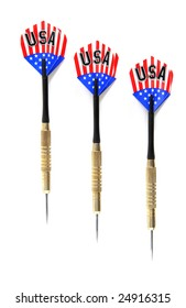 Three Red, White, and Blue Game Darts lined up on a white background.