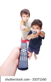 Three remote control used by father and two boys