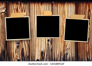 Three retro photos on old wooden wall. Mock up template. Copy space for your text
