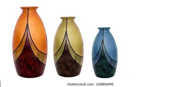 three retro vases isolated