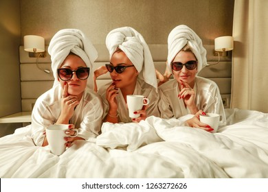 Three rich girls and morning coffee time