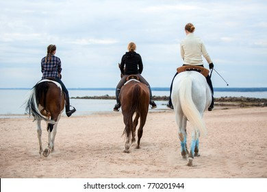 three riders from the back riding on horses on the beach