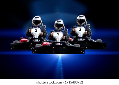 Three riders Go kart speed rive indoor racing on a blue background. Go kart indoor, cart racing fast, car where gokarting, we speed racing, racers banner Copy space.