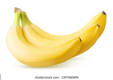 three ripe banana isolated on white background with clipping path