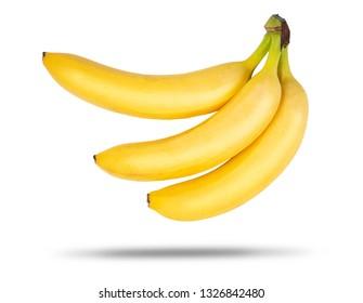 Three ripe bananas isolated on white