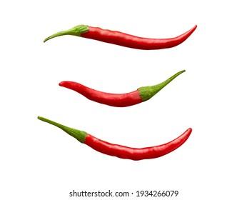 three Ripe chili pepper isolated on white background red chili