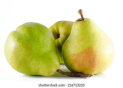 three ripe pears isolated on white background