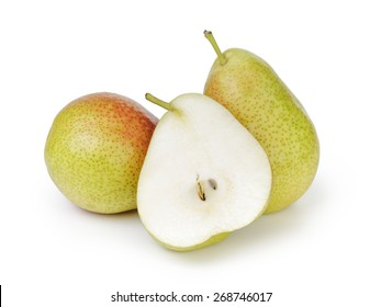 three ripe pears isolated on white