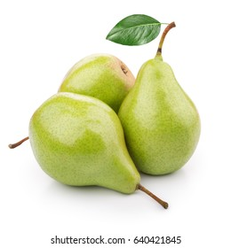 Three ripe pears on white background
