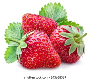 Three ripe strawberries with leaves on a white background.