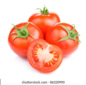 Three Ripe Tomatoes and its half Isolated on White Background Clipping Path