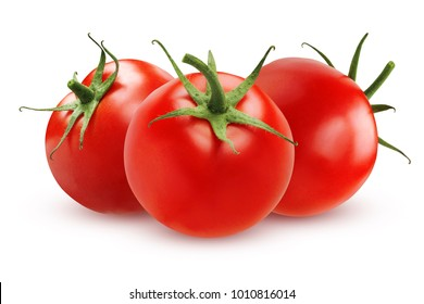 Three ripe tomatoes isolated on white background. The whole vegetable.