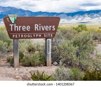 Three Rivers, New Mexico / USA - May 12 2019. Entrance Sign to the Three Rivers Petroglyph Site in New Mexico.  The Three Rivers Petroglyph Site is home to rock art created by Indians.