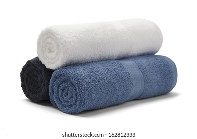 Three Rolled Towels Stacked Isolated on White Background.