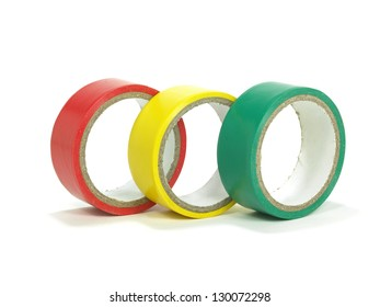 three rolls of electrical insulating tapes on white background