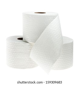 Three rolls of white perforated toilet paper isolated on white background