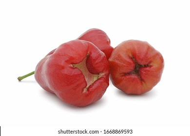 Three of rose apples, chomphu or thailand apple fruit isolated on white background