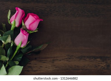 Three roses on dark wooden background. Space to copy. Top view.