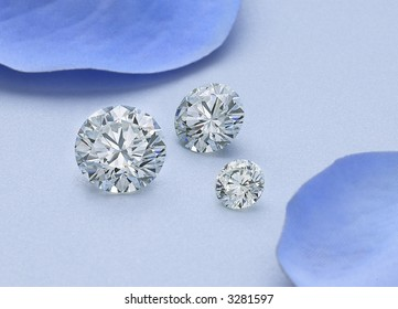 Three Round Diamonds on Blue