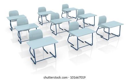 three rows of school desks (3d render)