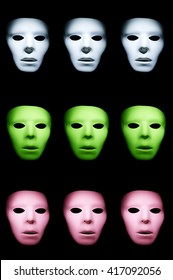 Three rows of white, green, and pink masks against a black background.