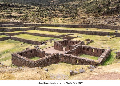 Three ruined Inca buildings, archaeological complex Tipon, Peru.
