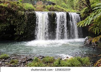 Three rushing waterfalls cascading over a volcanic hillside in a rainforest in Pua'a Ka'a Wayside Park, Haiku, Maui, Hawaii