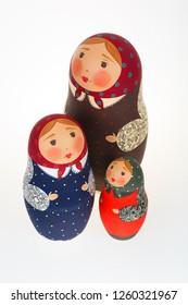 Three Russian dolls babushka matryoshka