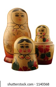Three Russian dolls. Isolated with path.