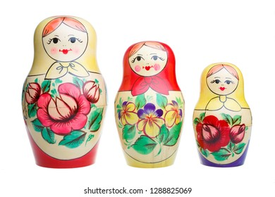 Three Russian dolls on white background