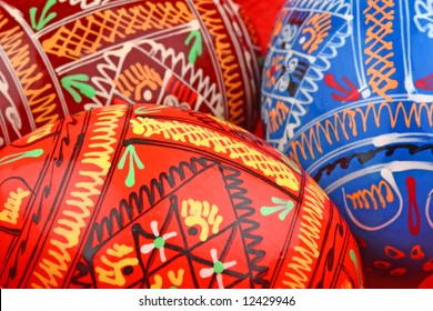 three russian tradition easter eggs side by side background