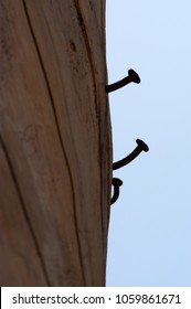 Three rusty nails in an old wood pillar in front of a blue sky.