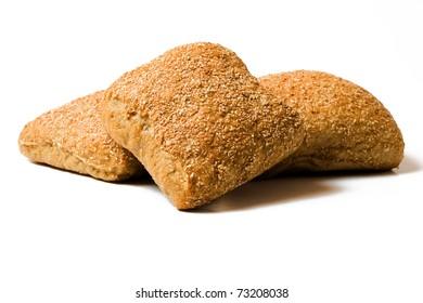 three rye bread rolls