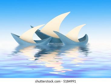Three sailing vessels